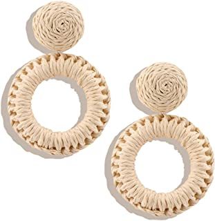 OMEYA Rattan Earrings for Women Handmade Wicker Straw Boho Earrings Annular style, Braid Drop Dangle Earrings Lightweight Geometric Statement Earrings
