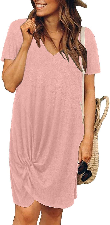 Dearlovers Womens V-Neck Short Sleeve Tshirt Dresses Casual Loose Side Knot Mini Dress Small E-Pink