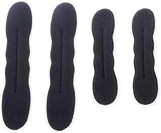 4PCS(2 Small + 2 Large) Black Sponge Foam Bun Maker Shaper Curler/Hair Holder Magic Roll Bun Hair Twist Braiding Tool Hair Styling Accessories for Women Lady Girls
