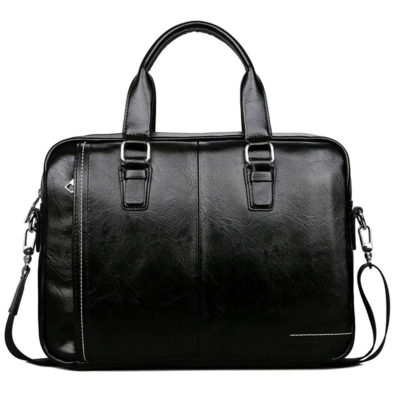 Zxcvlina Laptop Briefcase PU Leather Laptop Bag with Handle and Zip Pocket Men's Briefcase Business Tote