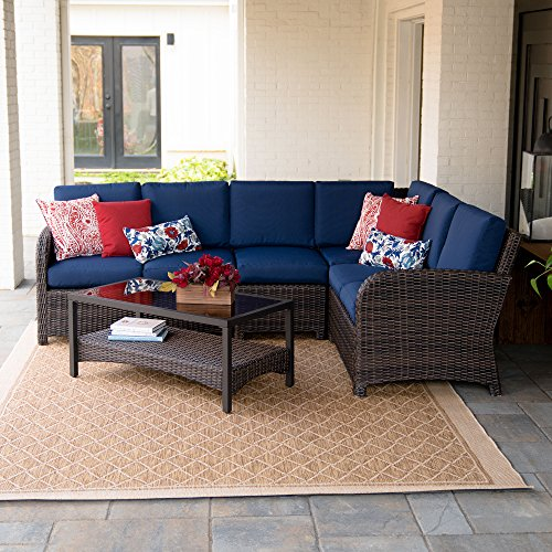 Leisure Made Jackson 5 Piece Outdoor Sectional, Navy Fabric