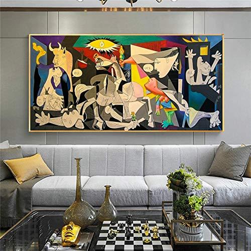 YCCYI Guernica de Picasso Reproducciones de Pinturas en Lienzo Famoso Lienzo Arte de la Pared Carteles e Impresiones Imágenes Decoración de la Pared del hogar 70x140cm (28x55in) Marco Interior