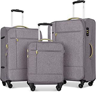 Fochier 3 Piece Luggage Set Softside Expandable Suitcase with Spinner Wheels TSA Lock,Beige