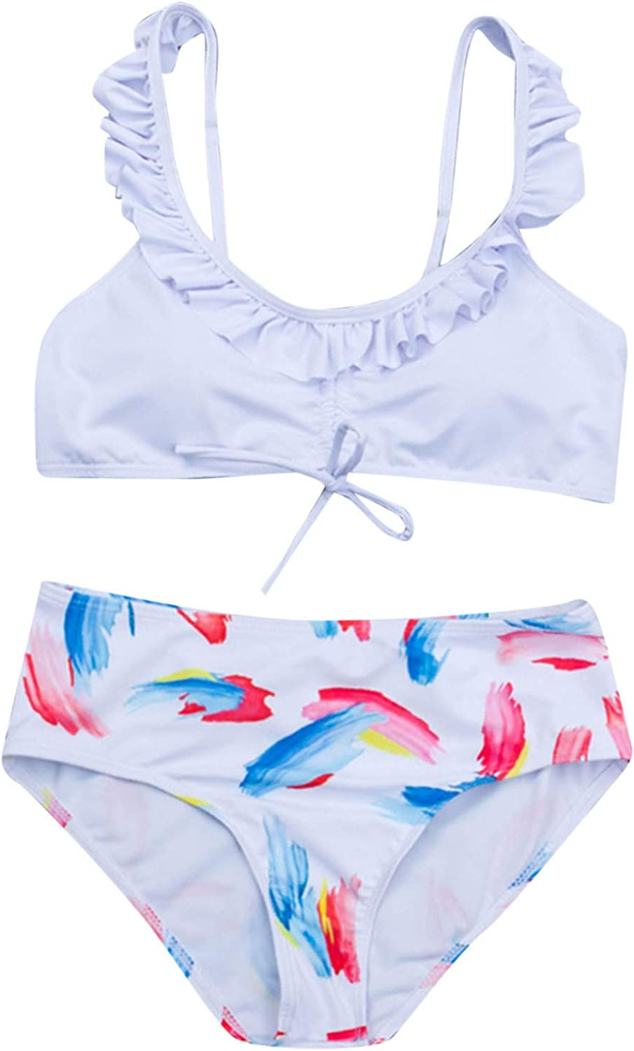HHoo88 Women Lace Up Flounce Strap 2 Max 53% OFF Excellence Bathing Suits Waisted High
