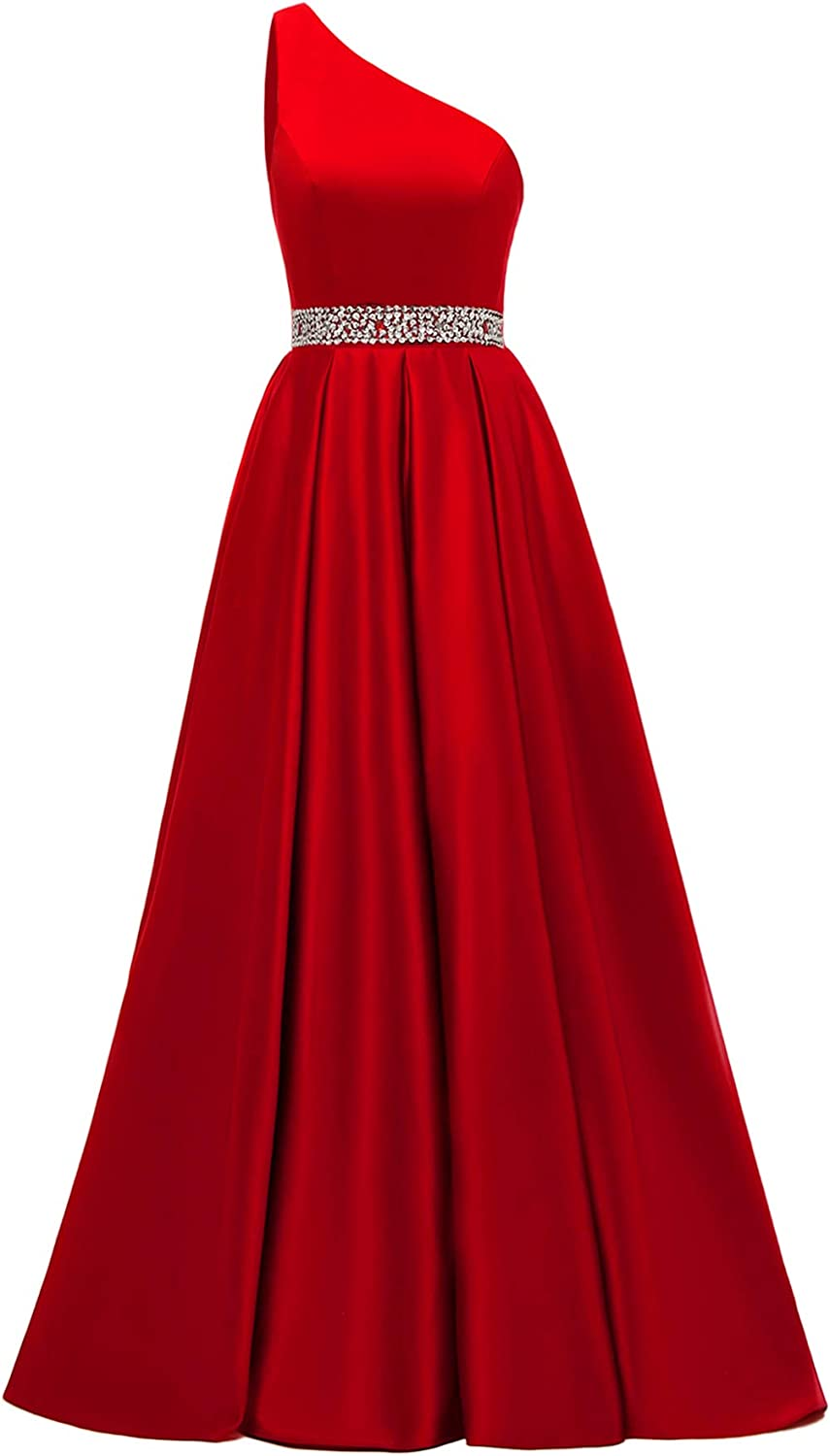 Yexinbridal One Shoulder Beaded Prom Dresses Long Satin Formal Evening Ball Gowns