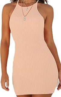 Vestidos para Mujer Elegante Sin Mangas Vestido Corto Casual con Cuello Halter