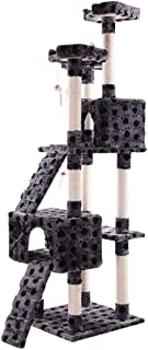 COZIWOW Sturdy Cat Tree Furniture for Multiple Cats with Soft Flannel Covered Ramp Elevated Platform Hide-Out Activity Grey with Paw Print