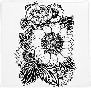 DIYthinker Planta Pet Square Alfombra de su casa Puerta de la Cocina de 80 cm de Regalos Flor del Girasol Blanco Negro Pla...