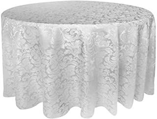 Tektrum Heavy Duty 90 inch Round Damask Jacquard Tablecloth Table Cover - Waterproof/Spill Proof/Stain Resistant/Wrinkle Free - Great for Banquet, Parties, Dinner, Kitchen, Restaurant, Wedding (White)