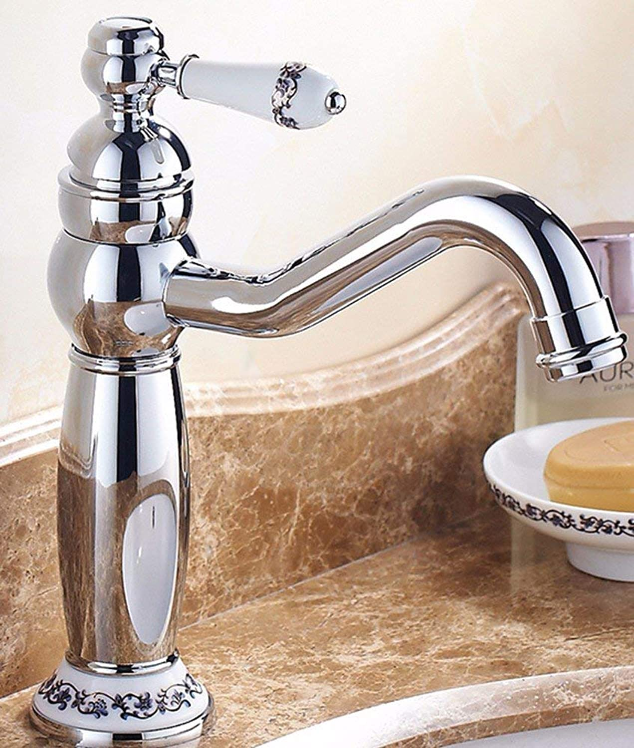 CFHJN HOME European Style Retro Style Hot And Cold All Copper Washbasin Single Handle Single Hole Sink Faucet