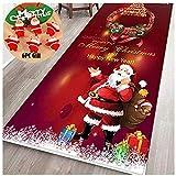 qiaohuan shop Feliz Navidad alfombra antideslizante 40 x 120 cm, felpudo de bienvenida para interiores y área, con 6 piezas de Papá Noel decoración del hogar
