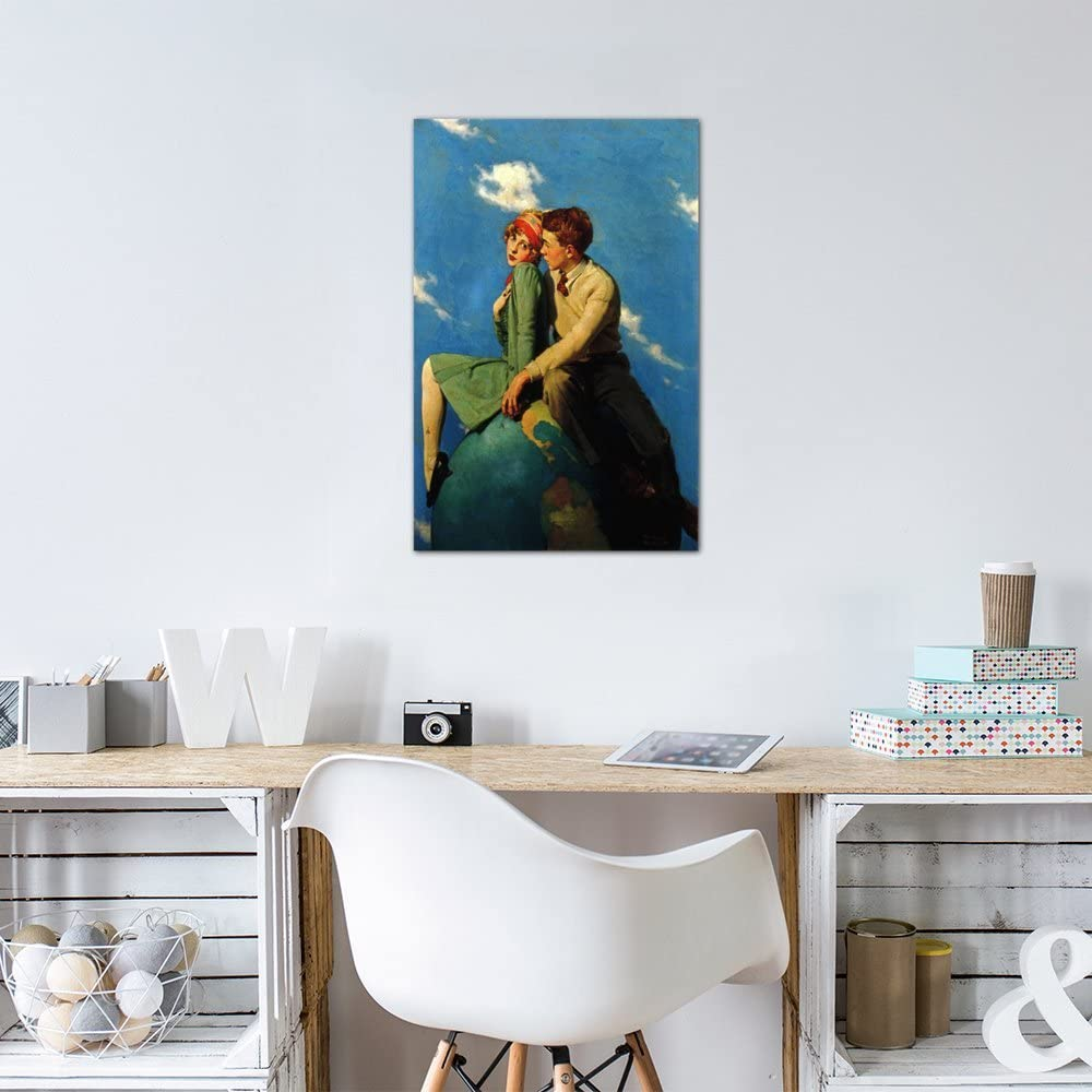 12 x 8//0.75 Deep iCanvasART 1 Piece On Top of The World Canvas Print by Norman Rockwell