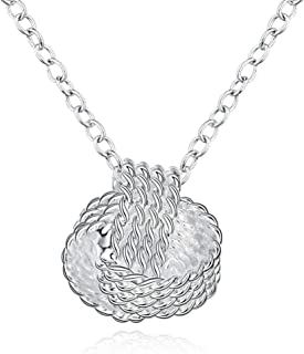 Necklace 925 Silver Ladies Fashion Women Beautiful Tennis Pendant Necklace Charm Gift For Her