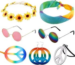 metagio 7 Pcs Hippie Costume Set, Including Round Hippie Sunglasses Sunflower Headband Peace Sign Necklace and Rainbow Tie...