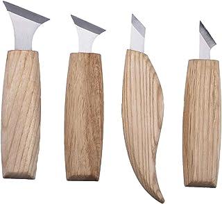 Ysoom - Juego de 4 cuchillos para tallar madera, escultura de madera, tallado de madera, cortador de tallar manualidades, escultura, abolladuras