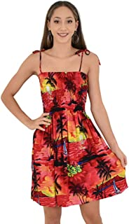 Island Style Clothing Ladies Tube Dress Sunset Tropical Hawaiian Print Beach Party Cruisewear