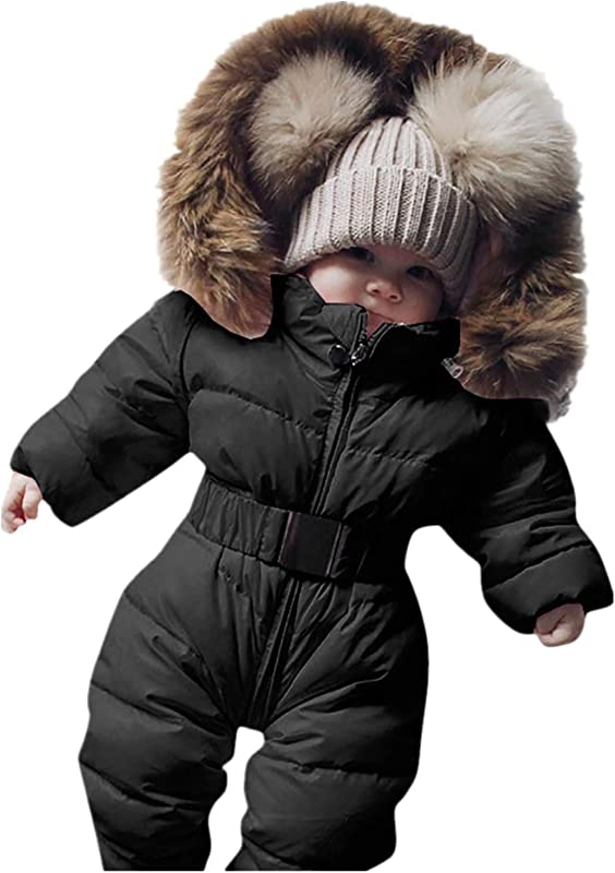 Newborn Infant Baby Boys Girls Snowsuits Hoodie Jumpsuit Winter Warm Padded Thick Coat Outfit