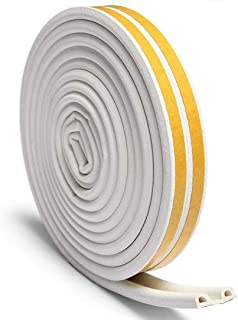 Nubstous 4Pcs Door Window Draught Excluder Strip Foam Seal Tape Adhesive Rubber Gasket Soundproofing Weatherstrip 12 Meters White