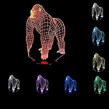 YANGHX 3D Illusion Gorilla Chimpanzee Halloween Optical Illusion LED USB Table Night Light Remote Desk Lamp Lighting for Halloween Decorations Xmas