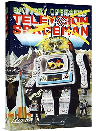 Global Gallery Budget GCS-376391-22-142 Retrobot Battery Operated Television Spaceman Gallery Wrap Giclee on Canvas Wall Art Print