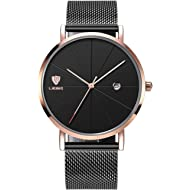 Mens Luxury Wrist Watches, Minimalist Fashion Ultra Thin Watch for Men Business Dress Waterproof...