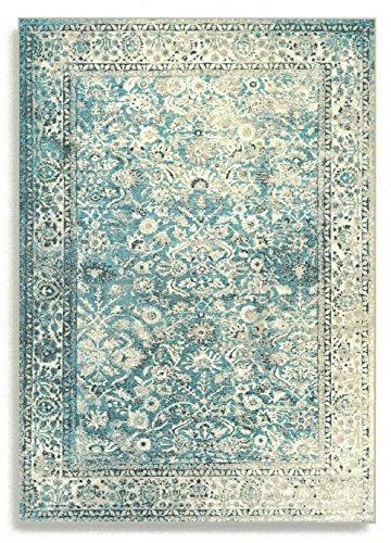 Barefoot Tapis Afghan Vintage Moderne Viscose Soie Artificielle, Orange Safran, 100 x 140 cm