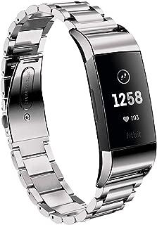 TenCloud Fitbit Charge 3 Classic対応 スペシャルエディション 心拍計 トラッカー 交換用アクセサリー リンクチェーン ステンレススチール 折りたたみ式バンドストラップ