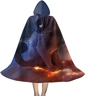 Kids Warrior Cat Hooded Cape Cloak for Christmas Halloween Cosplay Costumes