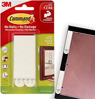 Command 17206-ES Picture and Frame Hanging Strips, Large, Holds 7.2 Kg. whole pack, white color. 4 pairs/pack, Heavy Duty,...
