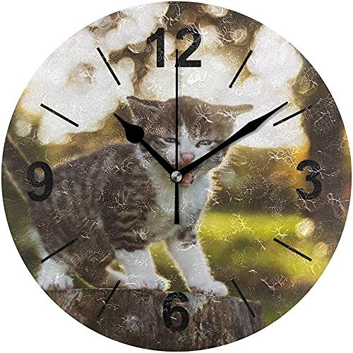 L.Fenn Wandklok Rond Silent Decoratieve kat Baby Sweet Cute Kitten Pet Portret Diermode diameter