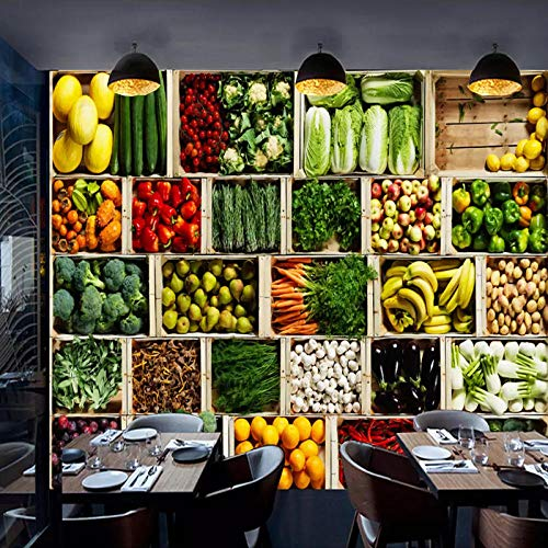 Qqasd 3D Pared Mural Fruta Vegetal Foto Fondo de pantalla Tienda de frutas Supermercado Fondo Decoración de la pared Pintura-300x210CM