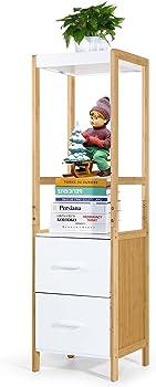 Hynawin Bamboo Bathroom Storage Shelf Rack with 2 Drawer