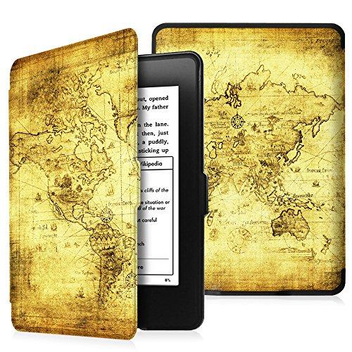 Fintie SlimShell Funda para Kindle Paperwhite - La Más Delgada y Ligera Carcasa de Cuero Sintético con Función de Auto-Reposo/Activación (No se Adapta a 10.ª generación 2018), Mapa Antiguo