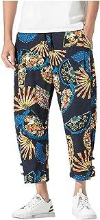 Pantalones Hombre, Pantalones hasta Los Tobillos AlgodóN Y Lino Casuales Suelto Pantalones Rectos Vintage Imprimiendo Large CóModo Estilo Nacional Pantalon Deporte M-5Xl