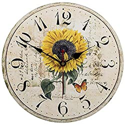Home Decor Clock, Colorful Retro Arabic Numerals Style,Silent Non -Ticking Quartz Wooden Wall Clock, Large Wall Art Decorative for Kitchen,Living Room,Kids Room and Coffee Decor (12 Inch, Sunflower)