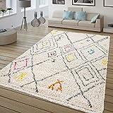 TT Home Alfombra De Pelo Largo, Shaggy para Salón, Étnica Multicolor, Estampado Rombos, Größe:80x150 cm