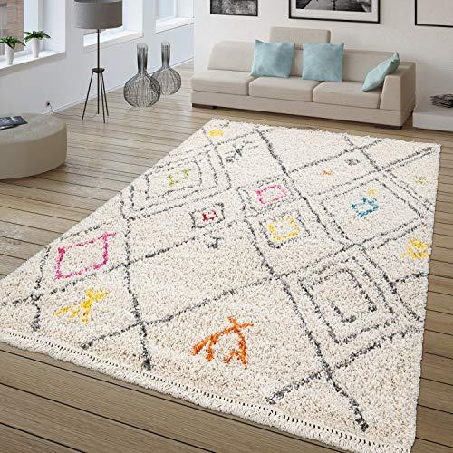 TT Home Alfombra De Pelo Largo, Shaggy para Salón, Étnica Multicolor, Estampado Rombos, Größe:200x290 cm