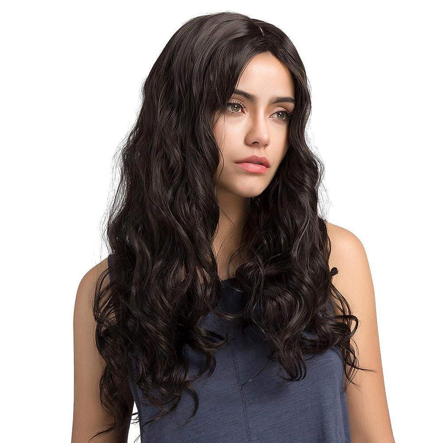 ニュース硫黄厄介な女性の小さな波状の長い巻き毛のふわふわのかつら65 cm