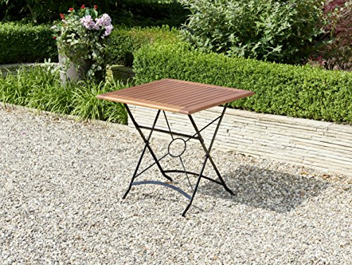 Ribelli outdoor klaptafel, acaciahout FSC 100% 75 x 75 x 75 cm - tuintafel tafel stalen tafel houten tafel terrastafel