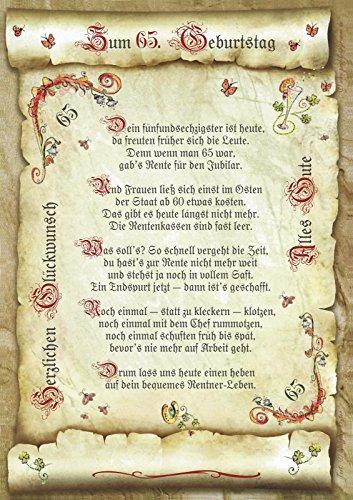 Geschenk 65. Geburtstag Gedicht Präsent Jubiläum