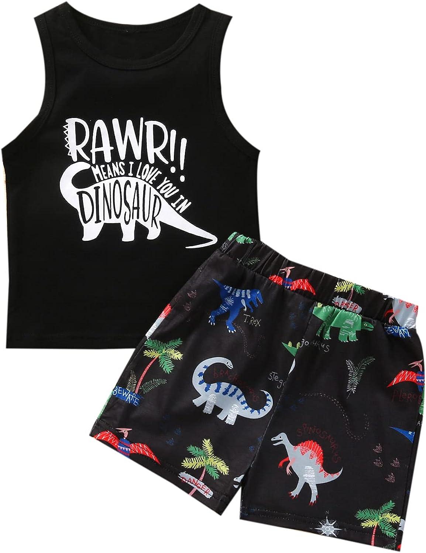 Adubor 2Pcs Baby Boys Summer Clothing Outfits Baby Clothes Toddler Dinosaur Sleeveless Tops T-Shirt+Shorts Set