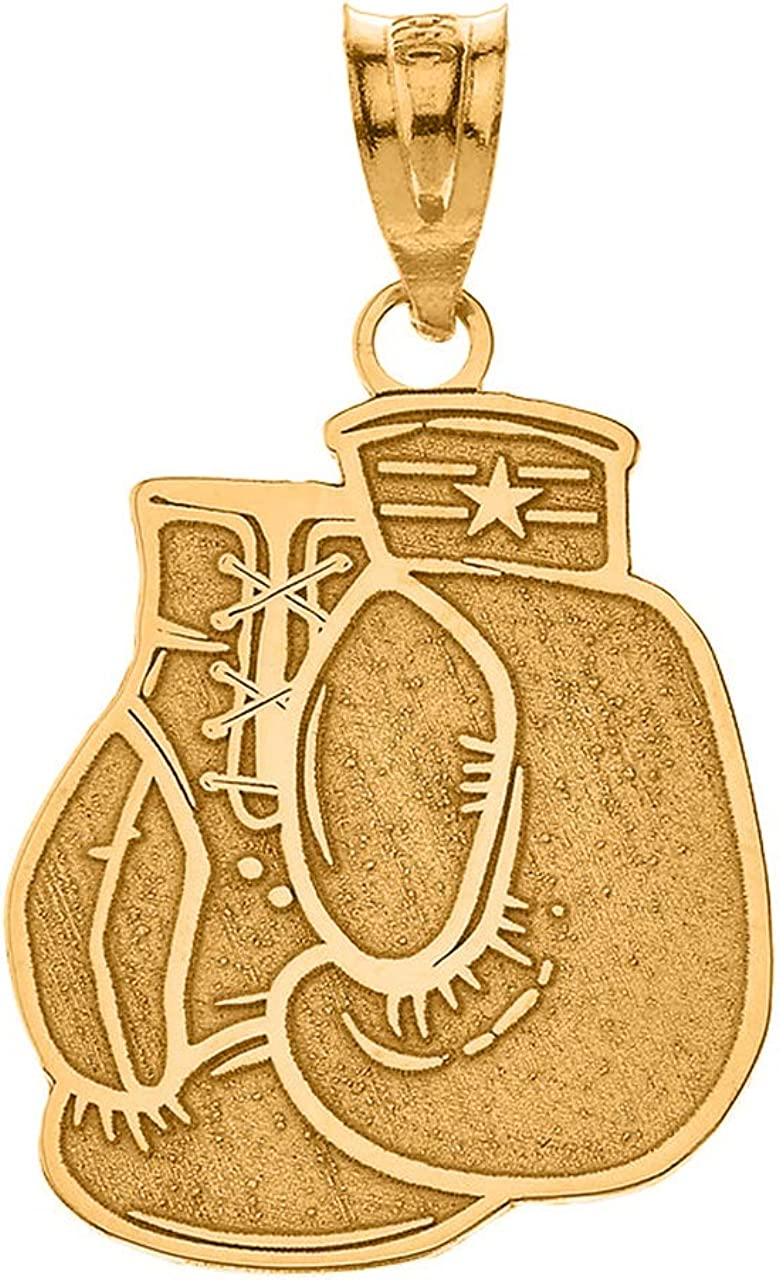 Sports Charm Certified 14k Yellow Gold Personalized Boxing Gloves Pendant with Your Name