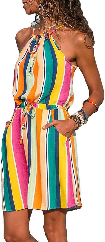 Party Dresses Women Bohemian Beach Dress Sundress Printed Halter Sleeveless Boho Dress Beachwear Dress Casual Mini Short Dress with Pockets Casual (color   Striped, Size   L)