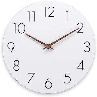 ساعت دیواری Plumeet 12 اینچ چوبی بدون حرکت با حرکت کوارتز خاموش - ساعت دیواری روستایی سبک مدرن آشپزخانه خانگی تزئینی - باتری کار می کند (سفید)