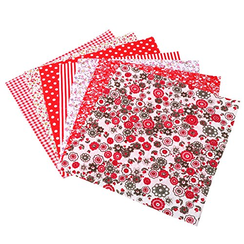 ultnice 7pellicole Tessuto per patchwork di cotone decorazioni patchwork di cucito quadrati (Rosso)