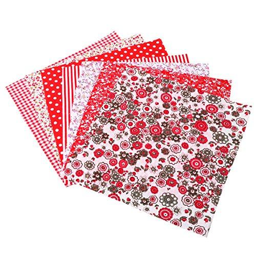 Ultnice - Tessuto per patchwork, in cotone, per lavori artigianali, patchwork, quadrati (rosso)