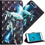 COTDINFOR pour Huawei P Smart Custodia Cover TPU 3D Effect Painted PU in Pelle con Wallet Card Holder Flip Custodia per Huawei P Smart/Enjoy 7S Star Wlof YX.