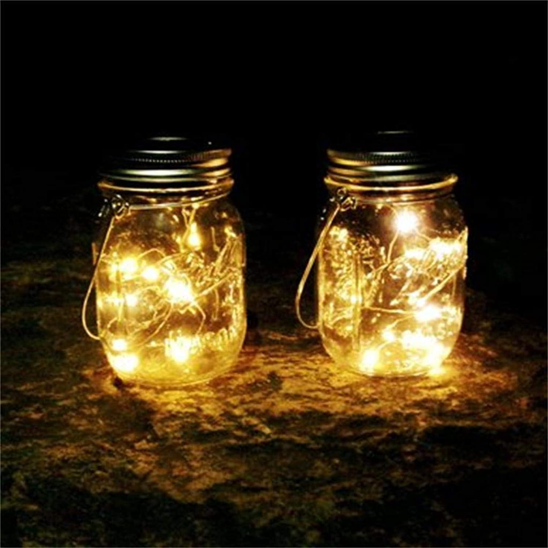 6 Pcs LED Mason Jar String Light Battery Powered - SHUDAGE Room Decorative Strip Lights Festival Decoration Copper Wire Lamp for Patio/Garden/Xmas Tree/Wedding/Halloween (Yellow)