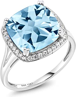10K White Gold Sky Blue Topaz and White Diamond Ring 8.54 Ct Cushion Cut Center Stone: 12mm (Available 5,6,7,8,9)