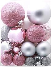49 Pcs Christmas Tree Hanging Baubles Silver Pink Christmas Balls Decoration Pendant